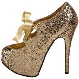 Kulta Kimalle 14,5 cm Burlesque TEEZE-10G Platform Avokkaat Kengät
