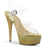 Kulta kimalle 15 cm Pleaser DELIGHT-608HG tankotanssi kengät