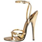 Kultaiset 15 cm Devious DOMINA-108 naisten korkosandaalit