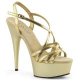Kultaiset 15 cm Pleaser DELIGHT-613 Korkeakorkoiset platform sandaletit