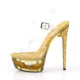 Kultaiset 16,5 cm ECLIPSE-608GT sandaalit piikkikorko