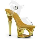 Kultaiset 18 cm MOON-708GFT kimallus platform sandaalit naisten
