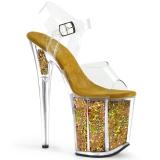Kultaiset 20 cm FLAMINGO-808GF kimallus platform korkokengät naisten