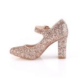 Kultaiset 9 cm SABRINA-07 avokkaat kengät paksu korko