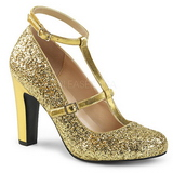 Kultaiset Kimalle 10 cm QUEEN-01 suuret koot avokkaat kengät