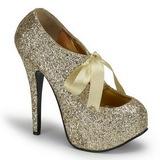 Kultaiset Kimalle 14,5 cm Burlesque TEEZE-10G Platform Avokkaat Kengät