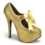 Kultaiset Kristalli 14,5 cm Burlesque TEEZE-04R Platform Avokkaat Kengät