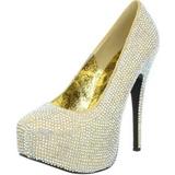 Kultaiset Kristalli 14,5 cm Burlesque TEEZE-06R Platform Avokkaat Kengät