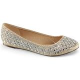 Kultaiset TREAT-06 kristalli kivi ballerina kengät naisten matalat