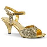 Kultaiset kimallus 8 cm Fabulicious BELLE-309G naisten korkosandaalit