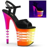 Monivärinen Neon 20 cm Pleaser FLAMINGO-809UVLN Platform Sandaletit