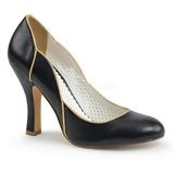 Musta 10 cm SMITTEN-04 Pinup avokkaat kengät alhainen korot