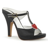 Musta 10 cm retro vintage SIREN-09 Korkeakorkoiset Muulit Kengät