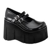 Musta 11,5 cm KERA-08 lolita kengät gootti wedge kiilakorkonilkkurit