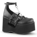 Musta 11,5 cm KERA-09 lolita kengät gootti wedge kiilakorkonilkkurit