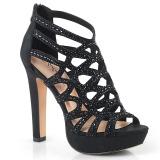Musta 11,5 cm Pleaser SELENE-24 Korkeakorkoiset platform sandaletit