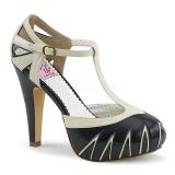 Musta 11,5 cm retro vintage BETTIE-25 Pinup avokkaat kengät piilotettu platform