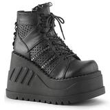 Musta 12 cm STOMP-12 lolita kengät gootti wedge kiilakorkonilkkurit