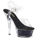 Musta 15 cm KISS-208GF kimallus platform sandaalit naisten
