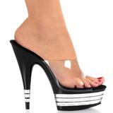 Musta 15 cm Pleaser DELIGHT-601LN Korkeakorkoiset Muulit Kengät