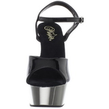 Musta 15 cm Pleaser DELIGHT-609 Kromi Platform Korkosandaalit