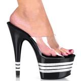 Musta 18 cm Pleaser ADORE-701LN Korkeakorkoiset Muulit Kengät