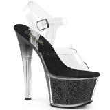 Musta 18 cm SKY-308G-T kimallus platform sandaalit naisten