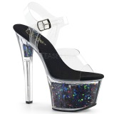 Musta 18 cm SKY-308GF kimallus platform sandaalit naisten
