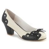 Musta 6,5 cm retro vintage WIGGLE-17 Pinup avokkaat kengät paksu korko