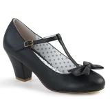 Musta 6,5 cm retro vintage WIGGLE-50 Pinup avokkaat kengät paksu korko