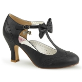 Musta 7,5 cm FLAPPER-11 Pinup avokkaat kengät alhainen korot