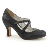 Musta 7,5 cm FLAPPER-35 Pinup avokkaat kengät alhainen korot