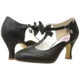 Musta 7,5 cm retro vintage FLAPPER-11 Pinup avokkaat kengät alhainen korot