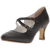 Musta 7,5 cm retro vintage FLAPPER-35 Pinup avokkaat kengät alhainen korot