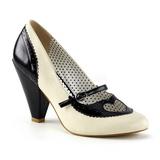 Musta 9,5 cm retro vintage POPPY-18 Pinup avokkaat kengät alhainen korot