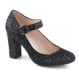 Musta 9 cm SABRINA-07 avokkaat kengät paksu korko