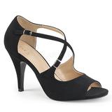 Musta Keinonahka 10 cm DREAM-412 suuret koot sandaalit naisten