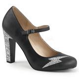 Musta Keinonahka 10 cm QUEEN-02 suuret koot avokkaat kengät