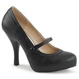 Musta Keinonahka 11,5 cm PINUP-01 suuret koot avokkaat kengät
