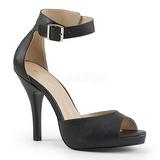 Musta Keinonahka 12,5 cm EVE-02 suuret koot sandaalit naisten