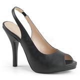 Musta Keinonahka 12,5 cm EVE-04 suuret koot sandaalit naisten