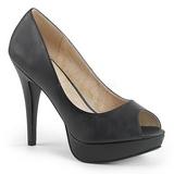 Musta Keinonahka 13,5 cm CHLOE-01 suuret koot avokkaat kengät