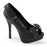 Musta Keinonahka 13,5 cm PIXIE-16 Gootti Avokkaat Kengät