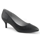 Musta Keinonahka 6,5 cm KITTEN-01 suuret koot avokkaat kengät