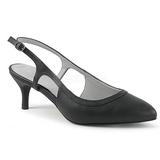Musta Keinonahka 6 cm KITTEN-02 suuret koot avokkaat kengät