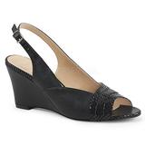 Musta Keinonahka 7,5 cm KIMBERLY-01SP suuret koot sandaalit naisten