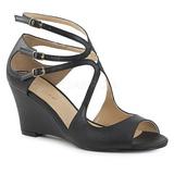 Musta Keinonahka 7,5 cm KIMBERLY-04 suuret koot sandaalit naisten