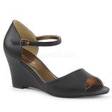 Musta Keinonahka 7,5 cm KIMBERLY-05 suuret koot sandaalit naisten