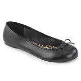 Musta Keinonahka ANNA-01 suuret koot ballerinat kengät