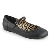 Musta Keinonahka ANNA-02 suuret koot ballerinat kengät